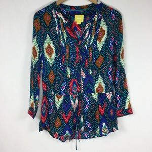 Anthropologie Maeve Printed, Pleated Color Blouse